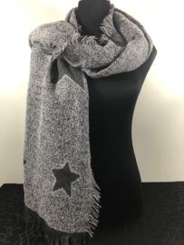 Winter sjaal ; grijs met sterren