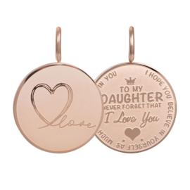 Hanger Daughter Love Small ; roségoudkleurig