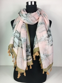 Sjaal licht roze met bruin