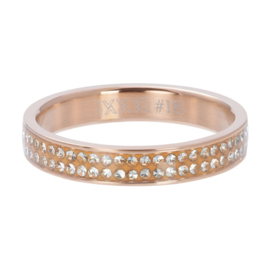 Ring Double Zirkonia ; Rosé-gold color