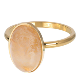Ring Royal Queen Drop Topaz ; goudkleurig