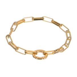 Armband Square Chain ; goudkleurig