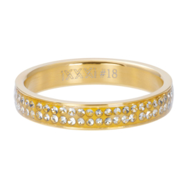 Ring Double Zirkonia ; goudkleurig