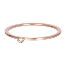 Ring blond flare 1 stone ; rosé-goudkleurig