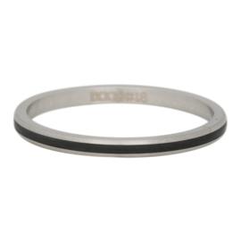 Ring Line zwart, zilver XS