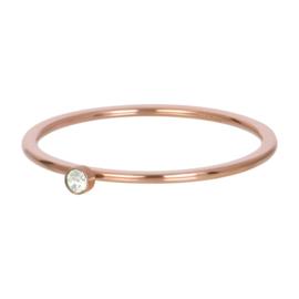 Ring green 1 stone ; rosé-goudkleurig