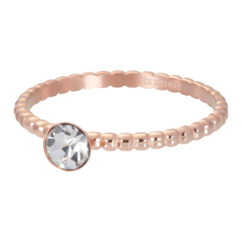 iXXXi Ring balls with crystal stone, rosé goud
