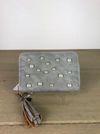 Portemonnee met parels ; grijs