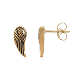 Angel wings oorstekers ; goudkleurig