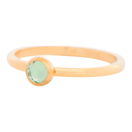 Ring Zirkonia Light Green, goudkleur