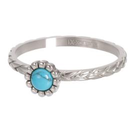 Ring Inspired Turquoise ; zilverkleurig