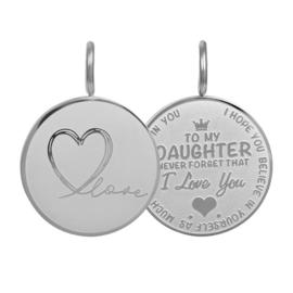 Hanger Daughter Love Small ; zilverkleurig