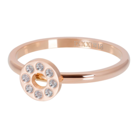 iXXXi Ring flat circels crystal Stones, rosé goud