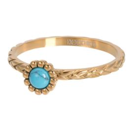 Ring Inspired Turquoise ; goudkleurig
