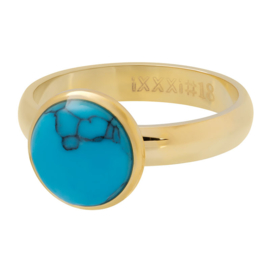 Ring 1 Stone Blue Turquoise ; Goldcolor