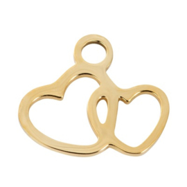 Charm 2 Hearts ; Goldcolor