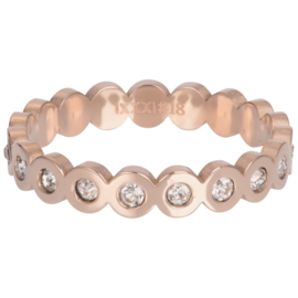 Ring Big Circle Stone ; rosé-goudkleurig