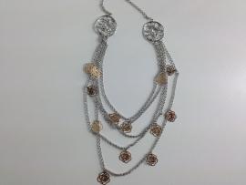 Lange ketting ; zilver én goudkleurig