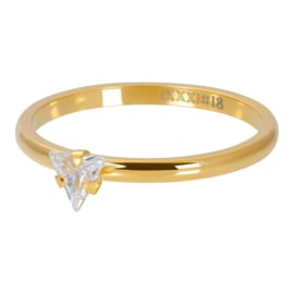 iXXXi Ring Triangle Crystal Stone, goud