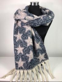 Winter sjaal ; Blauw/Roze ; Sterren