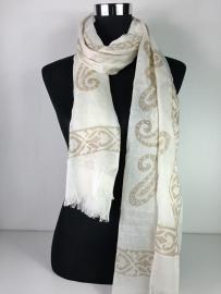 Sjaal creme en beige