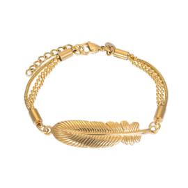 Armband Feather ; goudkleurig