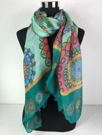 Sjaal verschillende blauw/groen tinten
