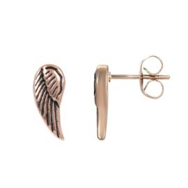 Angel wings oorstekers ; roségoudkleurig