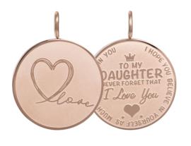 Hanger Daughter Love Big ; roségoudkleurig