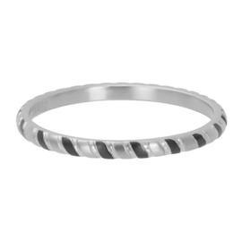Ring Rope ; zilverkleurig & zwart