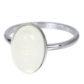 Ring Royal Queen Drop White ; zilverkleurig