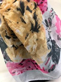 Sjaal flowers grijs