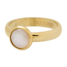 Ring Cat Eye White ; Goldcolor