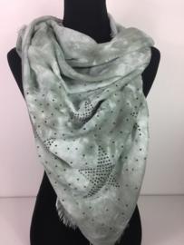 Vierkante sjaal ; groen gemeleerd