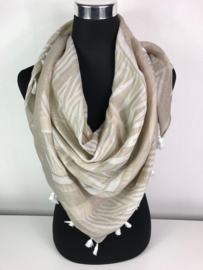 Sjaal ; taupe/beige - wit