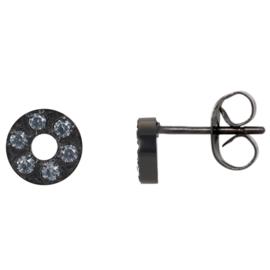 iXXXi Ear studs Circle Stone 6mm ; zwart