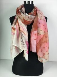 Sjaal roze, bruin en rood