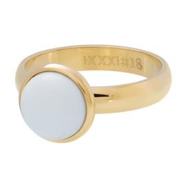 Ring 1 Stone White ; Goldcolor