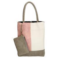 Shopper ; Beagles ; taupe, roze, off white