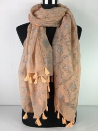 Sjaal zalm met kwastjes