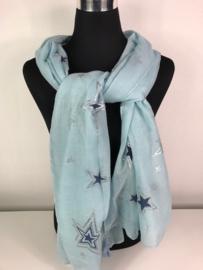 Sjaal ; blauw met sterren