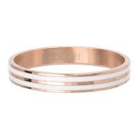 Ring Double Line White ; rosé-goudkleurig
