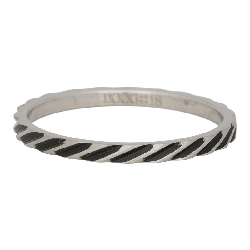 Ring Slanting Stripes ; zilverkleurig