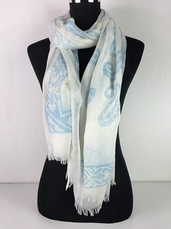 Sjaal wit en licht blauw