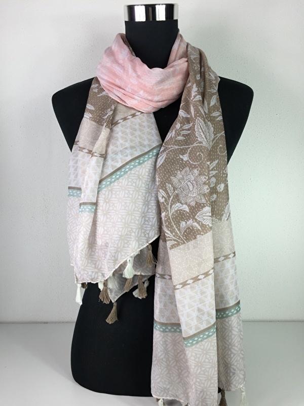 Sjaal roze, creme en bruin