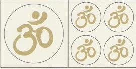Aum/Ohm stickerset goud/wit kleurig (eenzijdig) niet krasvast