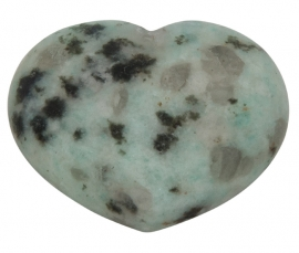 Gebold hart van Amazoniet, tourmalijn en bergkristal