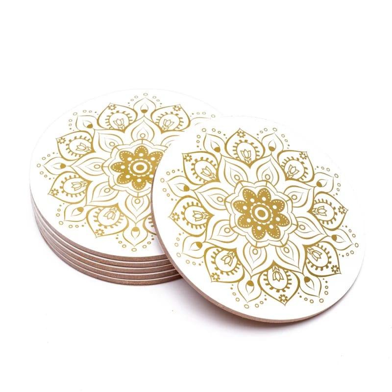 onderzetter mandala wit met goud
