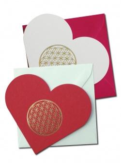 Rood Hart ansichtkaart met rode envelop