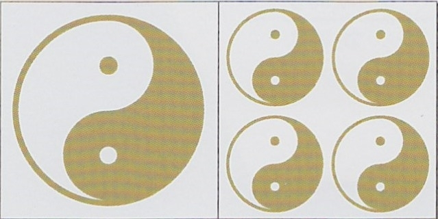 Ying Yang stickerset goud/wit kleurig (eenzijdig)